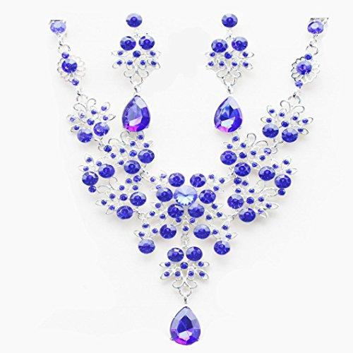 Lila Halskette Kreuz (Kette Damen, HUIHUI Böhmische Strass geometrische Edelstein Anhänger Damen elegant Strass Perlenkette Halskette Pendant Halskette Kette amulett zum öffnen mit kette Halskette + Ohrring Sets (Lila))
