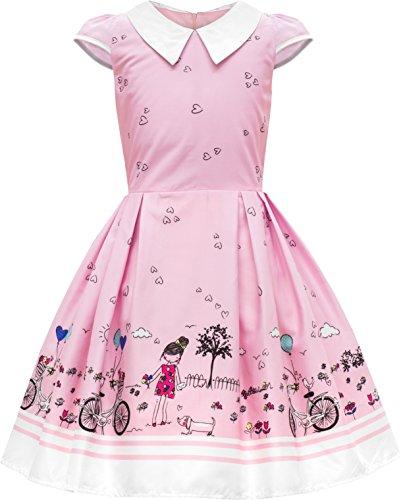 BlackButterfly Kinder 'Olivia' Vintage Sunshine Mädchen Kleid im 50er-Jahre-Stil (Rosa, 11-12 J / 146-152)