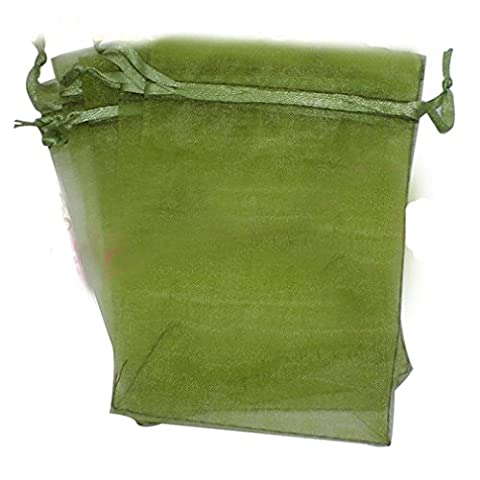 200 x Olive Green Drawstring Organza Gift Bags Wedding Pouches Favour Bags Jewellery Pouch 5 x 7 cm