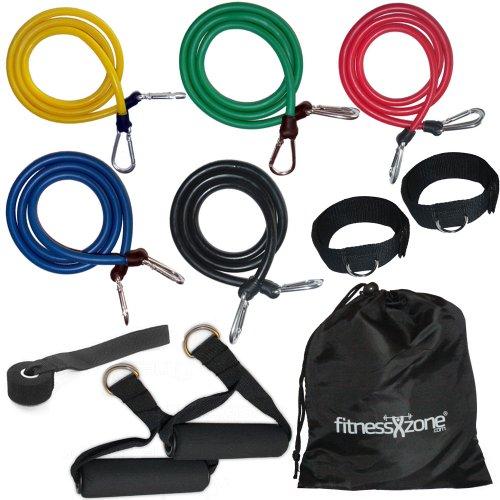 fitnessxzone® - fasce elastiche per resistenza / set per yoga, addominali, pilates, fitness, 11 pezzi