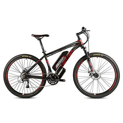 CCDD Mountain Elektro-Fahrrad,26 Zoll 27,5 Zoll 27 Geschwindigkeit Scheibenbremse GRENERGY Lithium-Batterie 36V10AH Hinterradantrieb Mountainbike,Black-red-27.5 * 15.5in