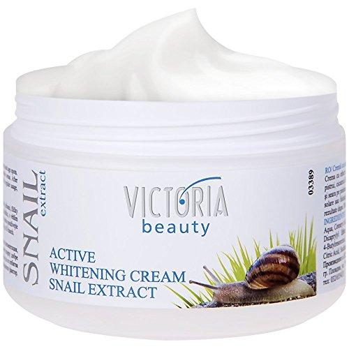 Victoria Beauty - Aufhellende Gesichtscreme mit Schnecken-Extrakt - Whitening-Creme mit Schneckenschleim (1 x 50 ml) - Augencreme mit Anti-Aging und Anti-Falten Wirkung - Feuchtigkeitscreme gegen Altersflecken und dunkle Flecken, gleicht Hauttöne aus - Akne Flecken Creme