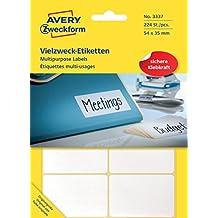 Avery Zweckform 3337 Vielzweck-Etiketten (Papier matt, 224 Klebeetiketten, 54 x 35 mm) 28 Blatt weiß