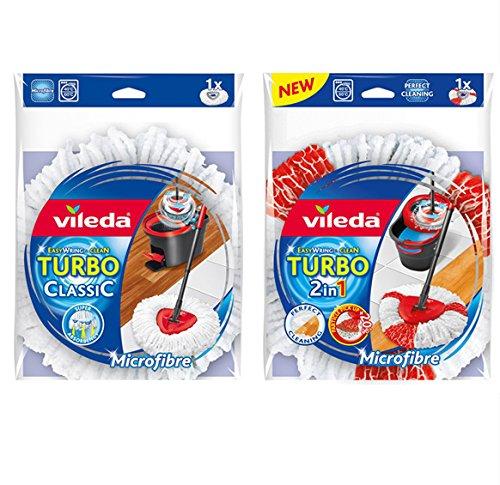 Preisvergleich Produktbild 1 Stück Vileda Turbo EasyWring & Clean 2in1 Ersatzkopf und 1 Stück Vileda Turbo EasyWring & Clean Classic Ersatzkopf