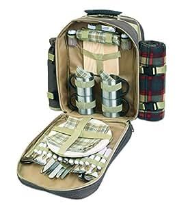 noTrash2003 Luxuriöser Picknickrucksack für 4 Personen mit Picknickdecke aus Fleece und Geschirr aus Metall und Flaschenkühler