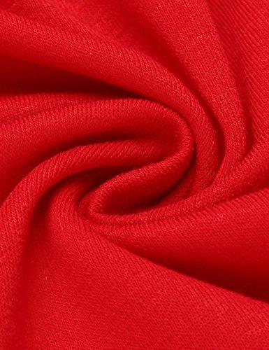 Busyall Damen Sweatshirt Langarmshirt Pullover Oberteil Tops mit Rundhalsausschnitt Rot