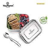 YouPlanet® Premium Lunchbox aus Edelstahl | BPA-Frei | Hochwertige Bento Box für Kinder und Erwachsene | Brotdose, Brotbüchse, Vesperdose mit Trennwand | inkl. GRATIS Besteck (1000ml)