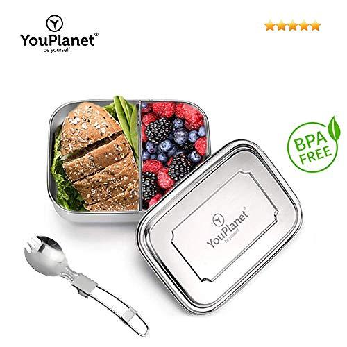 YouPlanet Premium Lunchbox aus Edelstahl mit Trennwand - BPA Frei - Bento Box für Kinder und Erwachsene - Brotdose, Brotbüchse, Vesperdose - inkl. GRATIS Besteck (1000ml)