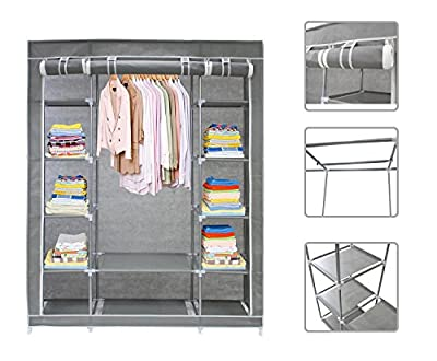 Todeco - Grey Canvas Fabric Wardrobe Clothes Storage Organiser - 134 x 43 x 172 Centimeter(52.8 x 17 x 68 Inch) 3 Doors Wardrobe With Hanging Rail - Zip Closure - cheap UK light shop.