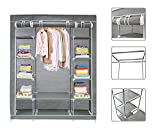 Todeco - Grey Canvas Fabric Wardrobe Clothes Storage Organiser - 134 x 43 x 172 Centimeter(52.8 x 17 x 68 Inch) 3 Doors Wardrobe With Hanging Rail - Zip Closure