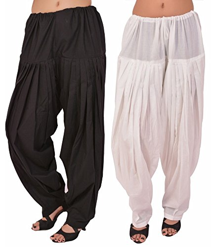 Pistaa combo of womens Black and White Patiala
