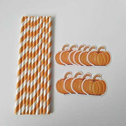 Chenyu pailles 20pcs/lot biodégradables pailles en papier pour Halloween citrouille Célébration de mariage, d'anniversaire avec décor