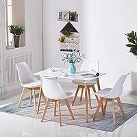 H.J WeDoo Table Salle à Manger Rectangulaire Scandinave Design Bois pour 4 a 6 Personnes Blanche 110 x 70 x73 cm (Table Seulement)