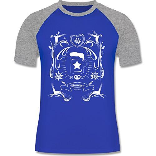Oktoberfest Herren - Oktoberfest 2017 Rockabilly - zweifarbiges Baseballshirt für Männer Royalblau/Grau meliert