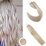 Ugea 50g Echthaar Verlangerung Microring Haar Extensions 50cm Brasilianische Echthaar Tressen Klavier Farbe Aschbraun nach Blond #P18/613