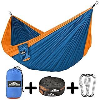 Agemore Karabinerhaken mit Schraubverschluss, eignet sich für Hängematten/ zum Zelten, wetterfest,leichtgewichtig, Befestigung für Baum, Orange/pphire