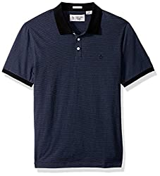 Original Penguin Mens Shorty Sleeve Feeder Stripe Polo, True Black, Small