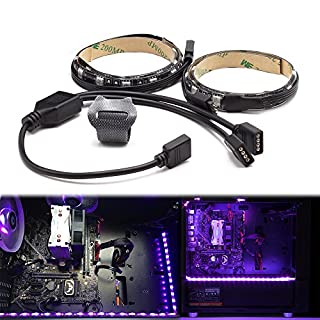 WOWLED PC RGB Gaming LED Strip for Desktop Computer Case Lighting, Gamer DIY Compatible with Aura Sync and M/B with 4pin RGB Header, 2Pcs 30cm with Magnet