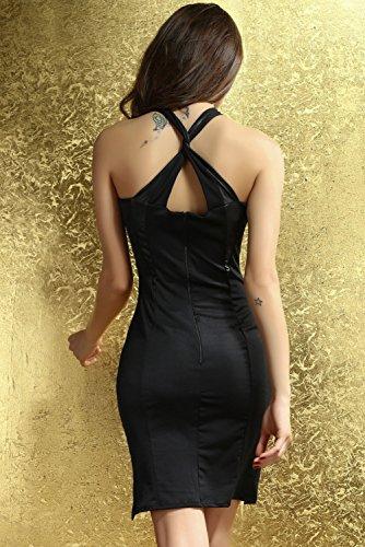 E-Girl femme Noir SY6157 longue Robe Noir