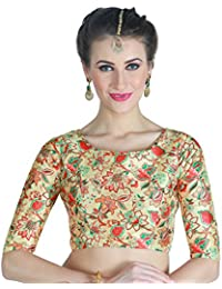 595797f5b26 STUDIO SHRINGAAR WOMEN S POLY SILK DIGITAL PRINTED MULTI - COLOURED SAREE  BLOUSE WITH BOAT NECK.
