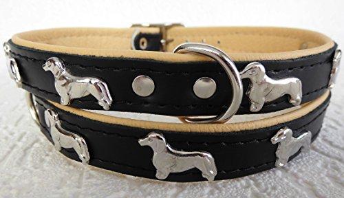 Lusy011 *DACKEL* Hunde Halsband, Leder, Halsumfang 28-32cm oder 36-41cm, SCHWARZ -Beige (Halumfang 28-32cm/36cm/20mm)