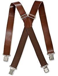 Brimarc Mens Real Leather Brown Braces Trouser Belt Suspender 35mm Wide