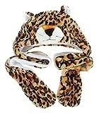 MARRYME Adulte Enfant Peluche Bonnet Hat Echarpe Chale Earflap Gloves Gant Cagoule Automne Hiver Chapka Ski Animaux Déguisement (Léopard)