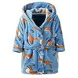 OverDose Damen Kinder Baby Print Flanell Bademäntel Hoodie Handtuch Pyjamas Home Party Nacht Plüsch Weichen Kleid(Blau,12-18 Monate)