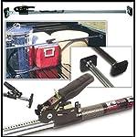 Barra universal extensible para asegurar la carga en la parte trasera de una camioneta.
