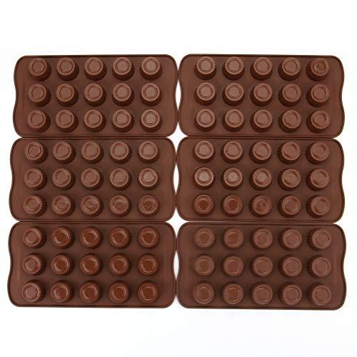Tebery Silikonform für Schokolade, Gelee, Süßigkeiten, antihaftbeschichtet, 6 Stück -