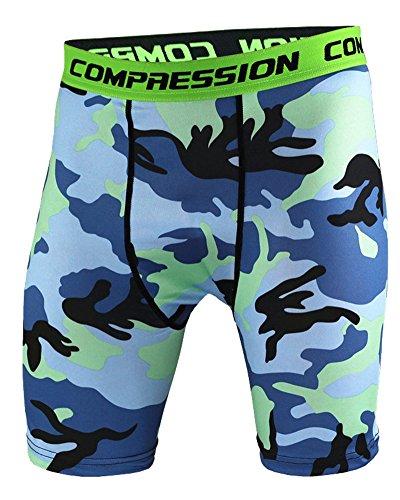 Uomo Sportivo Compression Manica Manica Corta E Fitness Pantaloni Corta Blu