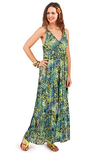 Verde pistacho para mujer tiras Tropical impresión V cuello Maxi vestidos verde Green - Animal Print Talla-L-44-46