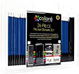 Colore 26 Piece Drawing and Sketching Pencils Art Set - High Quality Premium Graphite and Charcoal Sticks - Erasers and Sharpeners, Ideal for Schoolwork and Professional Art