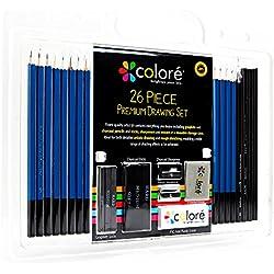 """Juego de 26 Lápices """"Colore"""" - Para Dibujos y Esbozos Artísticos - Con Ceras de Colores de Carboncillo y Grafito - Borradores y Sacapuntas, Ideales para la Escuela y para Artistas Profesionales"""