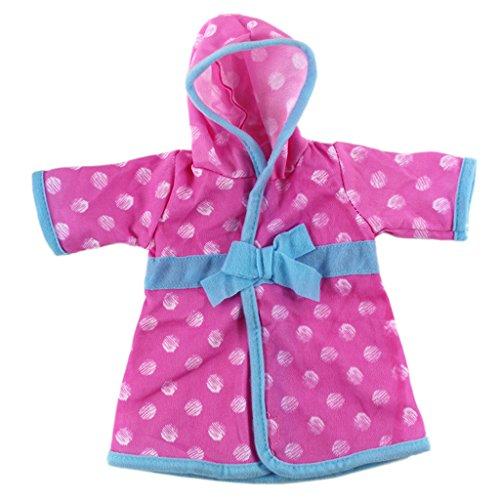 MagiDeal Puppen Pyjamas Bademantel Morgenmantel Kleidung für 18 Zoll American Girl Puppe - Pink Blau