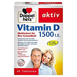 Doppelherz Vitamin D 1500 I.E. Tabletten | Nahrungsergänzungsmittel mit Vitamin D zur Unterstützung der normalen Funktion des Immunsystems | 1 x 45 Tabletten
