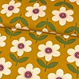 Stoffe Werning Baumwolljersey große Blumen Retrolook dunkel senfgelb Damenstoffe Modestoffe - Preis für 0,5 m -