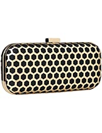 Paradox Womens Metal Case Party Fashion Evening Hand Box Clutch Bag (Black)