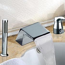 SUGU Bagno a cascata Freestanding Vasca Da Bagno Rubinetto Miscelatore Miscelatore con Tubo Doccia 150 cm Soffione Doccia Lucidato Olio Bronzo