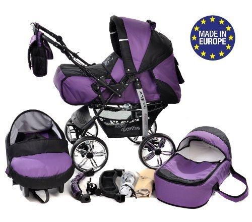 Baby Sportive - Sistema da viaggio 3-in-1 (carrozzina, seggiolino auto e passeggino), con accessori, colore: Viola/Nero