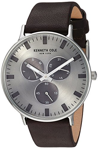 Kenneth Cole New York Men's 'Sport' Quartz Stainless Steel and Leather Dress Watch, Color:Brown (Model: KC14946001)