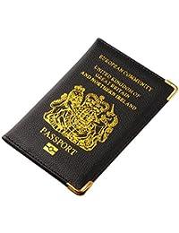 TRIXES Couverture en Simili Cuir Noir Passeport du Royaume-Uni et d'Irlande du Nord