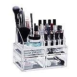 Relaxdays Organizer mit 4 Schubladen, Make Up Kit für Lippenstift, Nagellack, Kosmetikregal Acryl, transparent, Standard