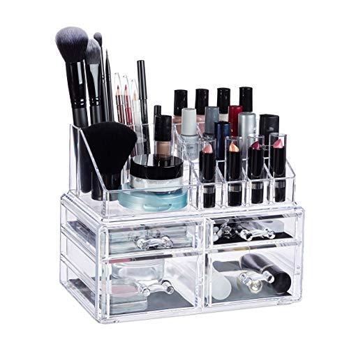 Relaxdays 10024646_50 Organiseur Maquillage 4 Tiroirs Support Cosmétiques Rouge à Lèvres Vernis à Ongles Acrylique Transparent, Résine, Standard