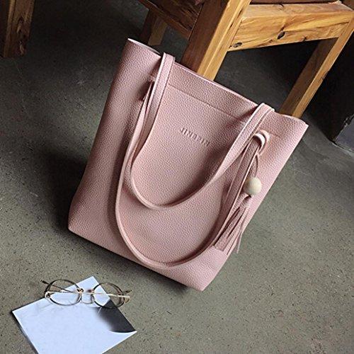 Borse Donna , feiXIANG 2017 Moda donna nappa borsa in pelle borsa a tracolla + crossbody bag + pochette Wallet (rosso) rosa