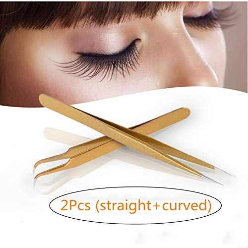 OUTANG Wimpernzange Punkt-Pinzetten Küchenpinzette Wimpernverlängerung Edelstahl Make-up-Werkzeugrostfrei