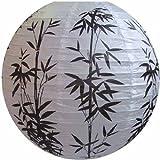 AAF Nommel ® 300, Lampion 1 Stk. Papier weiss schwarz japanisch rund Durchmesser 40 cm