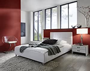 sam polsterbett 90x200 cm zarah in wei pflegeleichtes. Black Bedroom Furniture Sets. Home Design Ideas