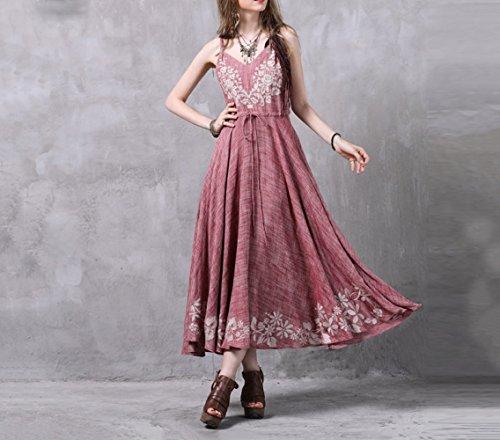 DYY Sommer-Kordelzug aus Baumwolle und Leinen für Frauen Langer Rock Vintage-Kleid mit aufgestickter Stickerei,Rosa,M -