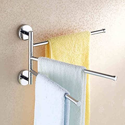 Towel Rack Wall Mounted Stainless Steel Swing Arm Towel Bar for Bathroom Hotel ( 3 - Arm )